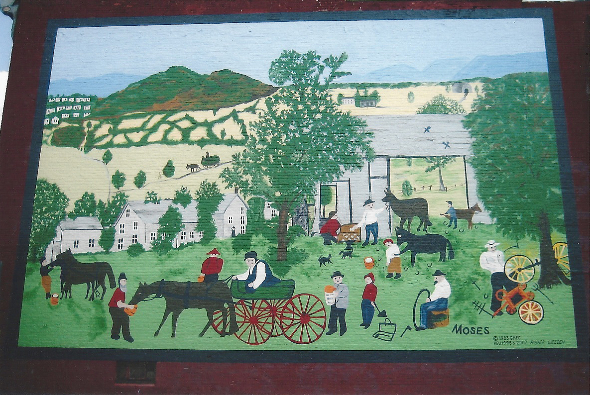 Grandma Moses Mural – latex paint & sealer on brick